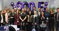 Group shot of SCQFP staff and delegates at international study visit event with purple balloons spelling out SCQF